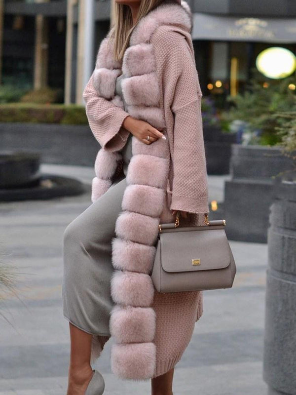 Long Regular Thick Wrapped Faux Fur Overcoat