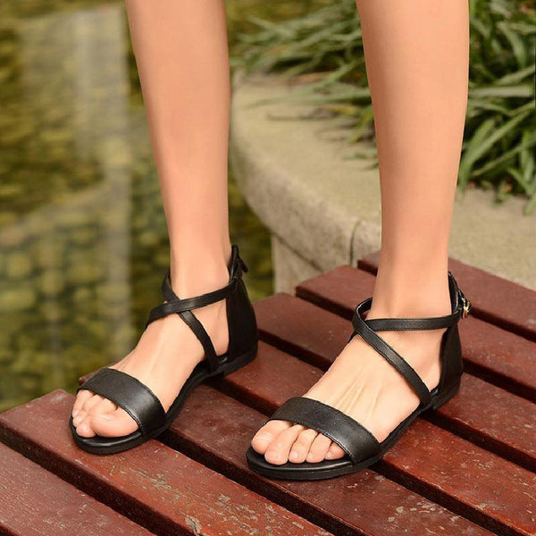 Buckle Block Heel Open Toe Heel Covering Mid-Cut Upper Zipper Sandals