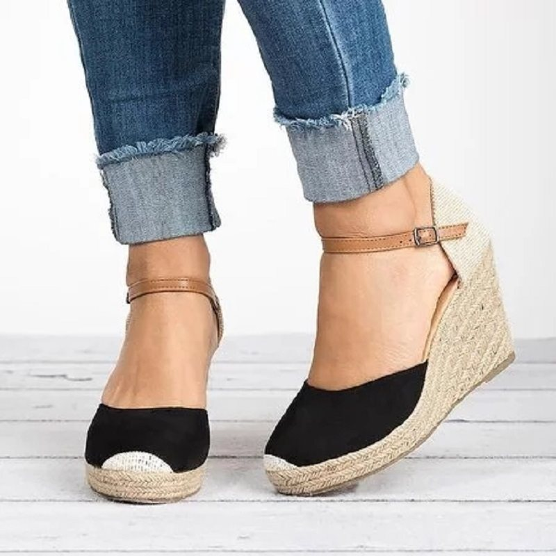 Closed Toe Wedge Heel Buckle Casual Plain Thin Shoes