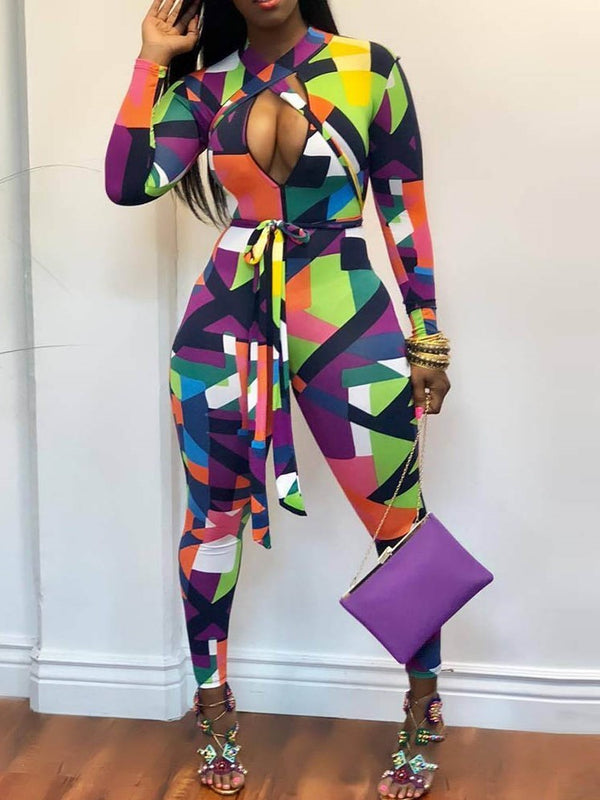 Fashion Patchwork Color Block Skinny Pencil Pants Jumpsuit