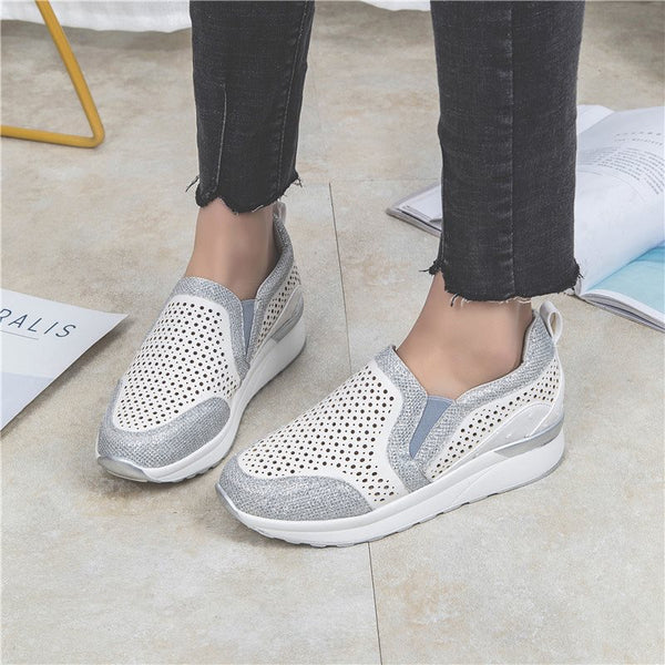 Slip-On Low-Cut Upper Round Toe Hollow Flat With Casual Sneakers