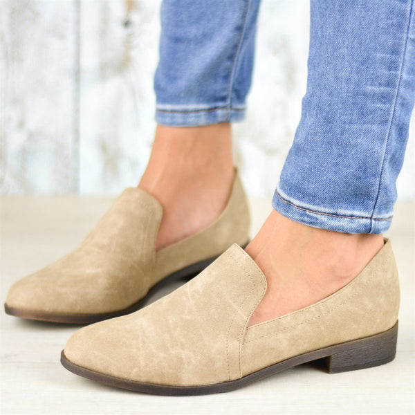 Round Toe Block Heel Slip-On Western Casual Thin Shoes