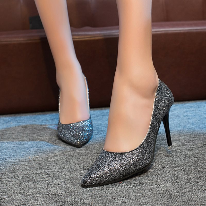 Sequin Pointed Toe Slip-On Plain Sexy Thin Shoes