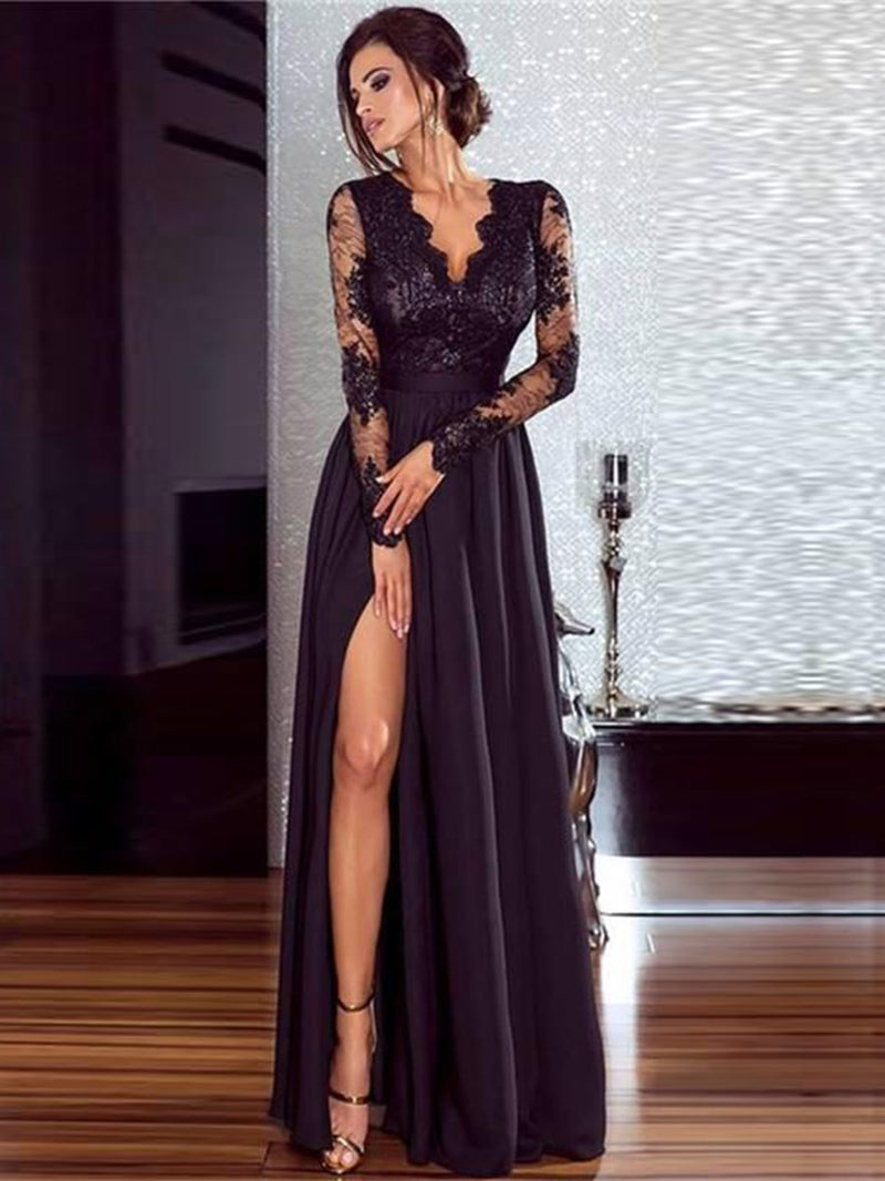 Floor-Length Long Sleeve V-Neck Regular Pullover Dresses
