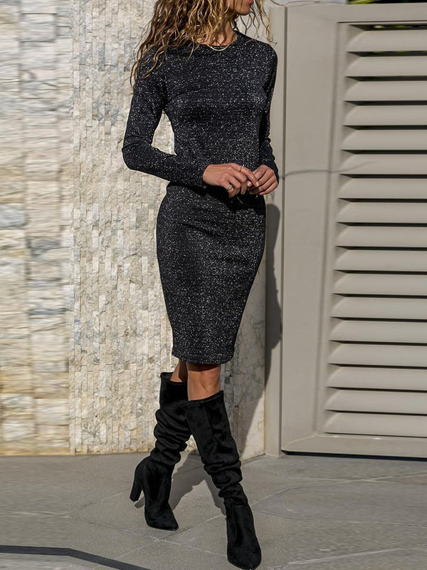 Round Neck Knee-Length Long Sleeve Bodycon Pullover Dresses