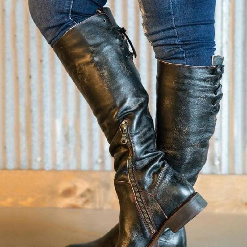 Side Zipper Plain Block Heel Round Toe Zipper Vintage Boots