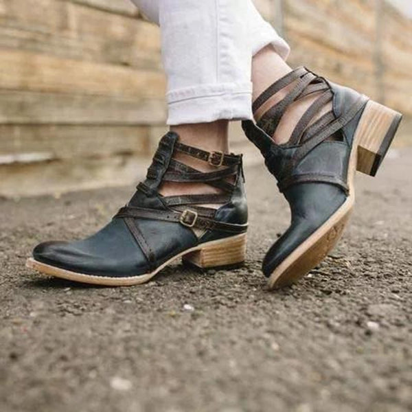 Slip-On Color Block Round Toe Block Heel Thread Western Boots