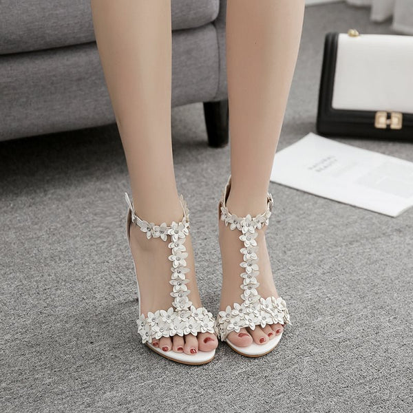 T-Shaped Buckle Heel Covering Stiletto Heel Peep Toe Plain Appliques Sandals