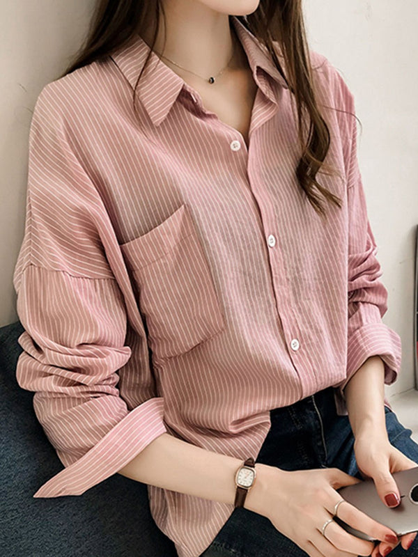 Stripe Regular Lapel Mid-Length Long Sleeve Blouse
