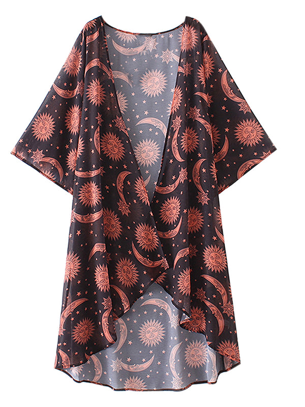 Summer Vintage Half Sleeve Chiffon Loose Flower Printed Tops