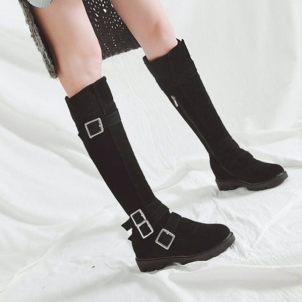 Side Zipper Block Heel Plain Round Toe Zipper Cotton Boots