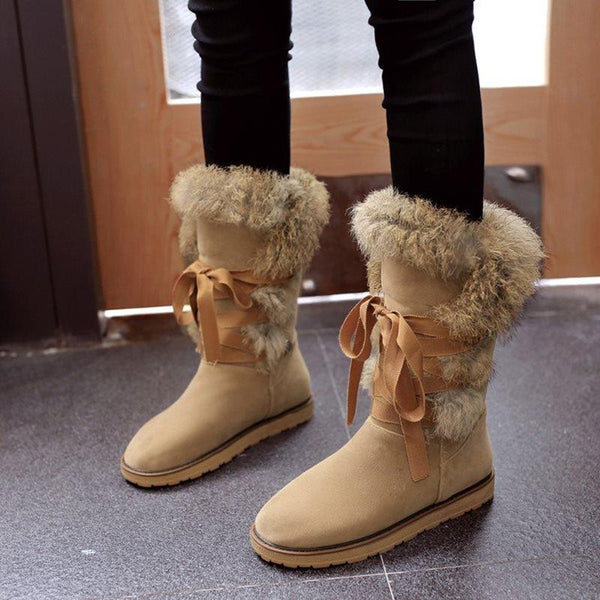 Round Toe Plain Lace-Up Front Flat With Plush Purfle Boots
