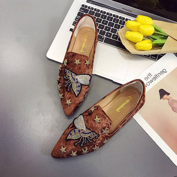 Pointed Toe Slip-On Block Heel Appliques Low-Cut Upper Casual Thin Shoes