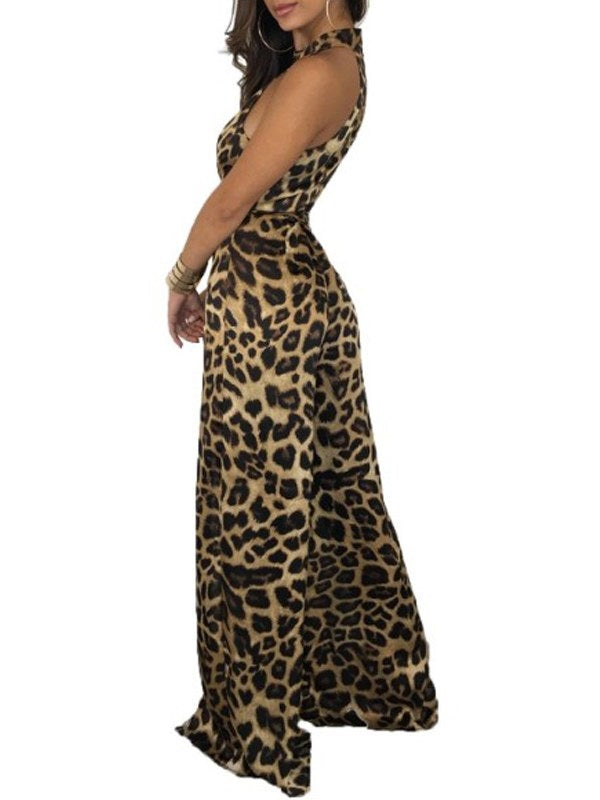 Full Length Leopard Print Loose Jumpsuits