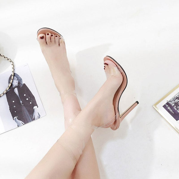 Buckle Open Toe Stiletto Heel Ankle Strap Color Block High-Cut Upper Sandals