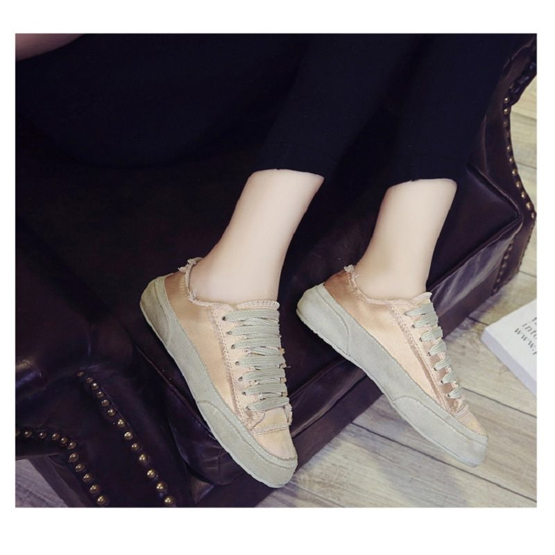 Round Toe Lace-Up Plain Flat Heel Thin Shoes