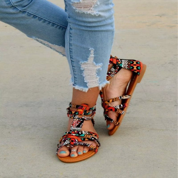 Open Toe Flat With Zipper Casual Ethnic Sandals