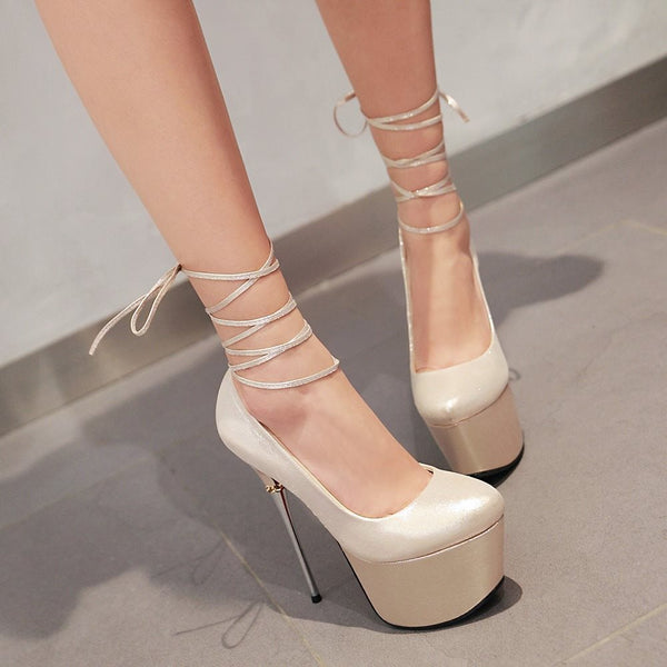 Platform Slip-On Round Toe Stiletto Heel Ultra-High Heel Low-Cut Upper Thin Shoes