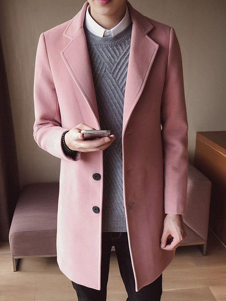 Notched Lapel Mid-Length Button Fall Straight Coat