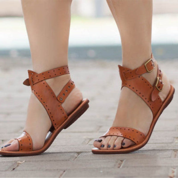 Buckle Chunky Heel Ankle Strap Open Toe Rivet Casual Sandals