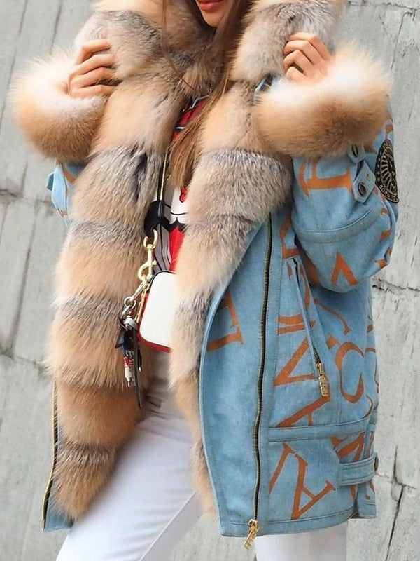 Mid-Length Letter Regular Zipper Loose Faux Fur Overcoat