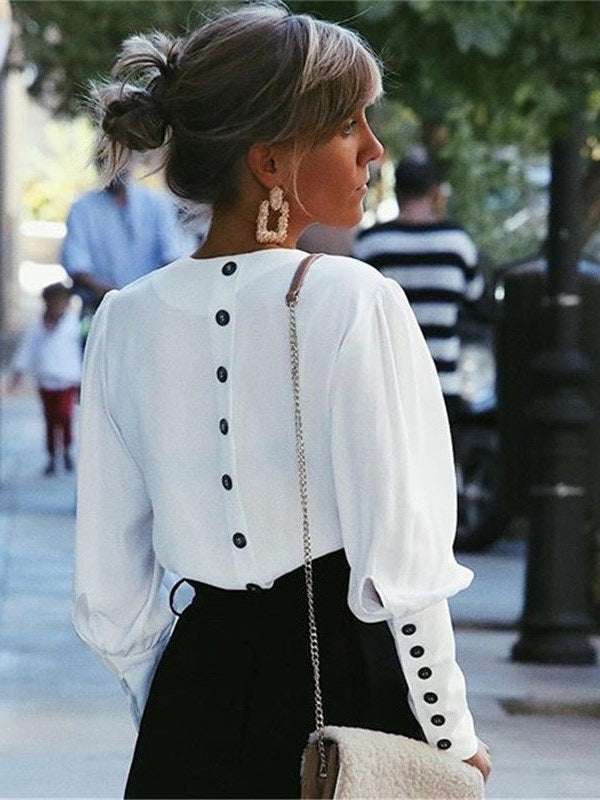 Patchwork V-Neck Puff Sleeve Standard Long Sleeve Blouse