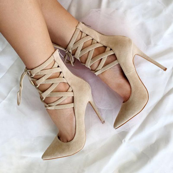 Cross Strap Pointed Toe Stiletto Heel Zipper Plain High-Cut Upper Thin Shoes