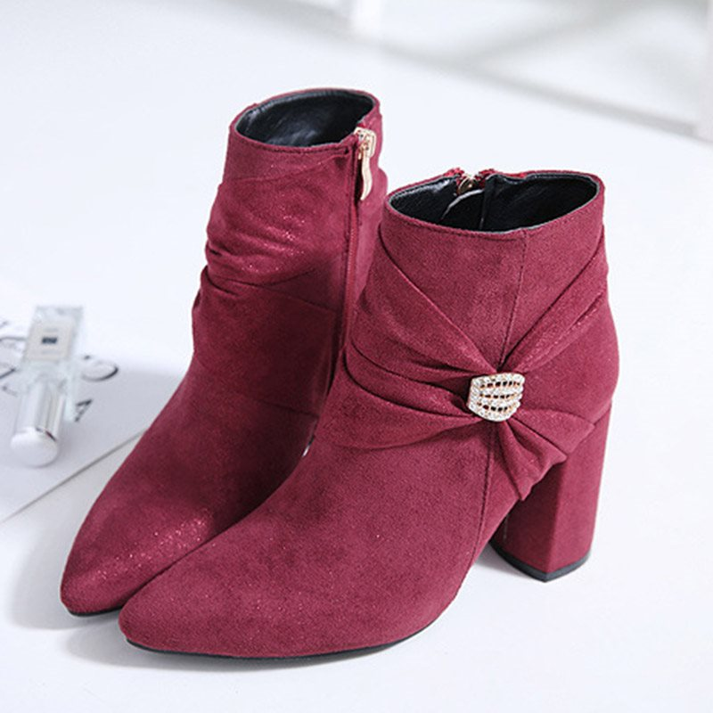 Side Zipper Round Toe Plain Chunky Heel Rhinestone Casual Boots