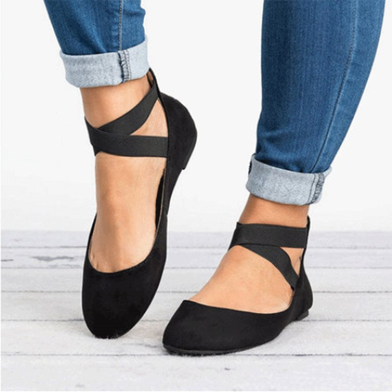 Zipper Block Heel Round Toe Cross Strap 1cm Casual Thin Shoes
