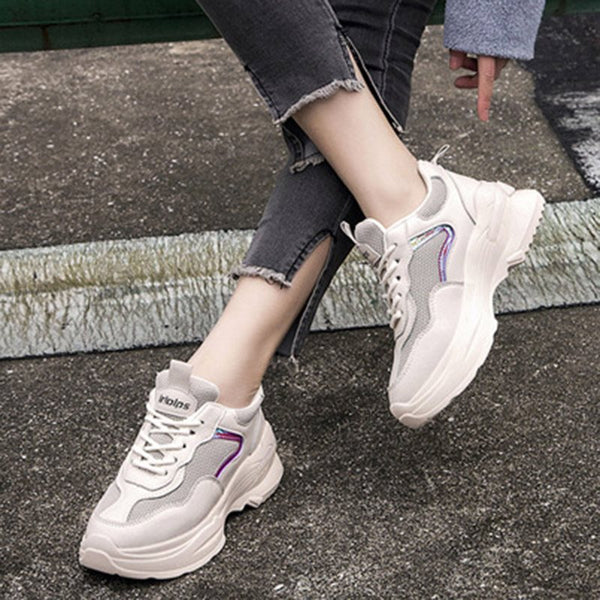 Platform Lace-Up Round Toe Low-Cut Upper Casual Patchwork Sneakers