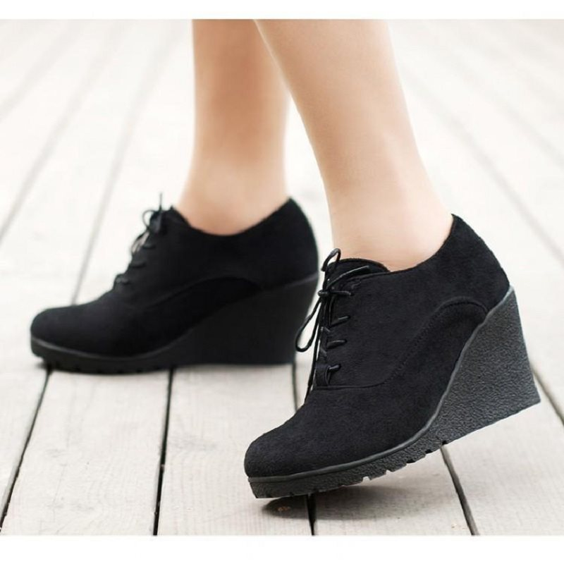 Round Toe Wedge Heel Lace-Up Ultra-High Heel Plain Thin Shoes