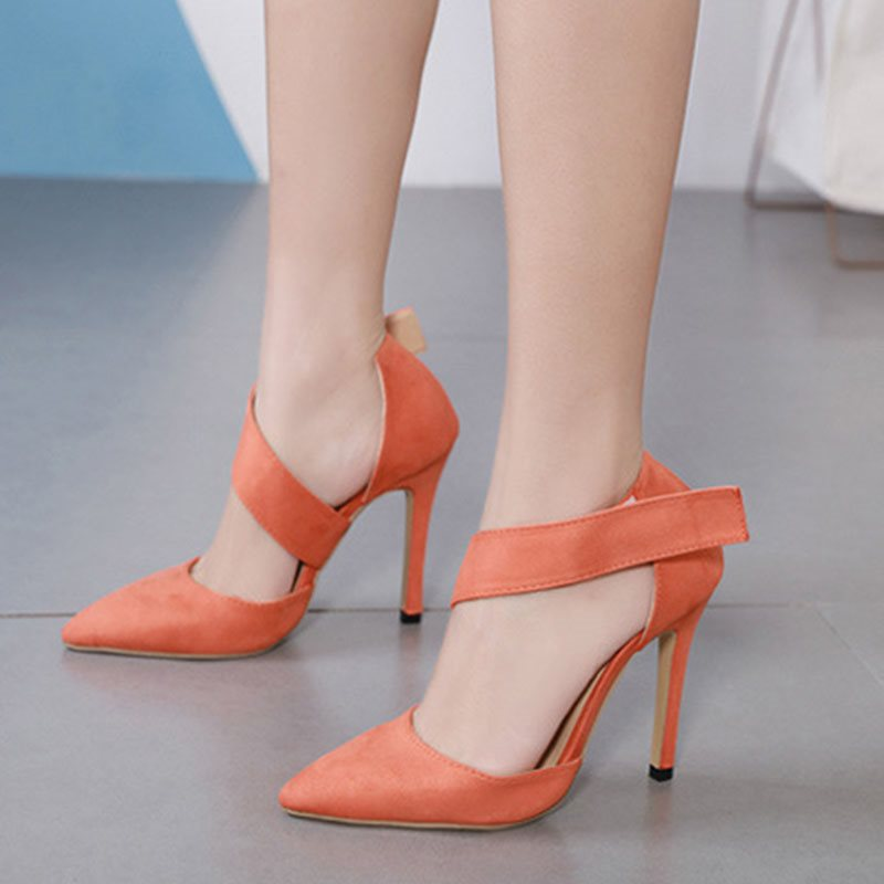Stiletto Heel Velcro Pointed Toe Casual Low-Cut Upper Thin Shoes