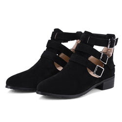 Block Heel Slip-On Plain Round Toe Buckle Casual Boots