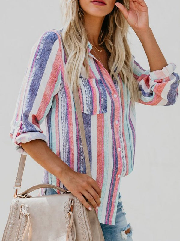 Stripe Lapel Regular Long Sleeve Mid-Length Blouse