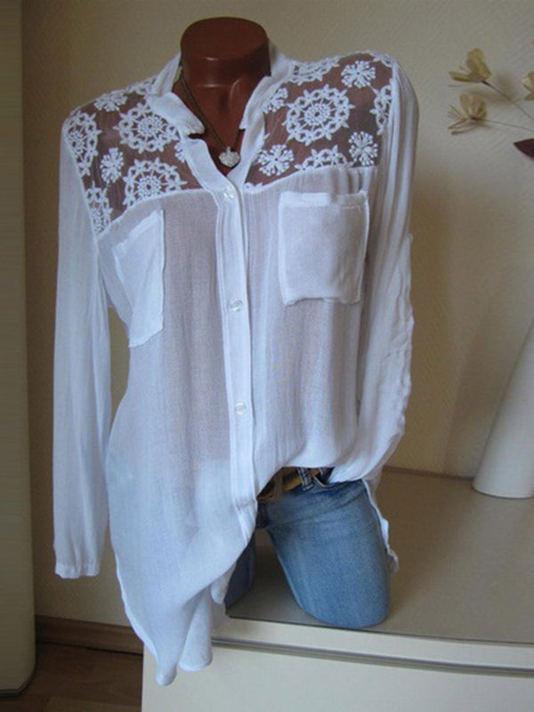 Regular Lace Long Sleeve Mid-Length Blouse
