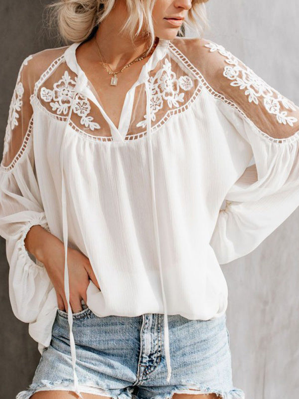 Sexy Lace Mesh Shirt Embroidery Patchwork Casual Blouses