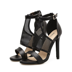 Heel Covering Stiletto Heel Line-Style Buckle Open Toe Casual Hollow Sandals
