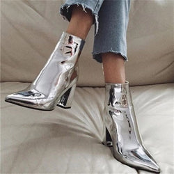Plain Pointed Toe Side Zipper Chunky Heel Casual Boots