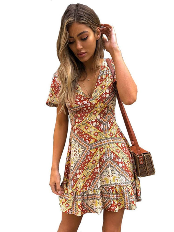 Print Short Sleeve Above Knee A-Line Regular Dress