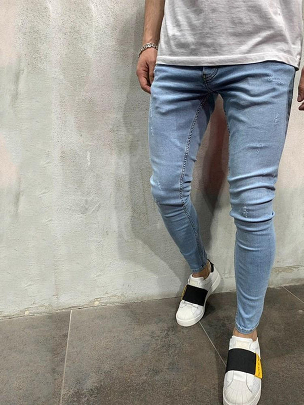 Plain Pencil Pants Zipper European Mid Waist Jeans