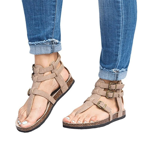 Thong Buckle Low-Cut Upper Plain Sandals