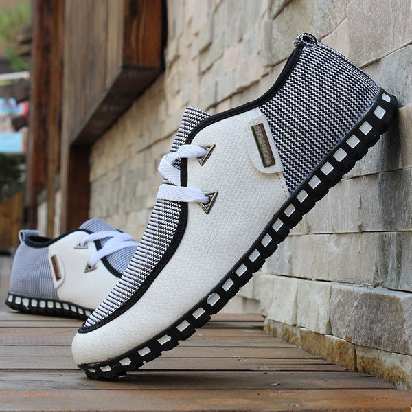 Patchwork Low-Cut Upper Lace-Up Round Toe Thin Shoes
