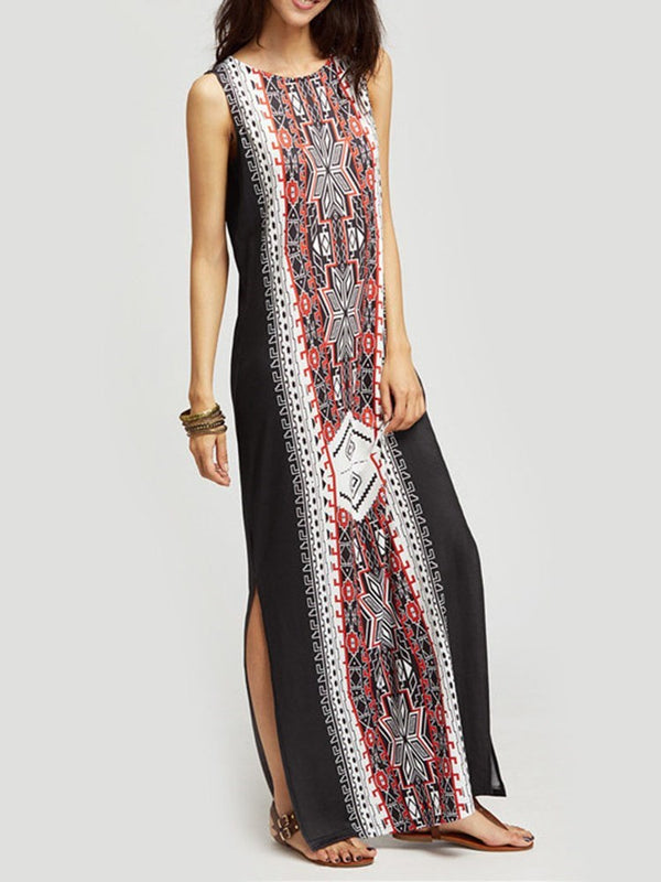 Sleeveless Round Neck Split Straight Geometric Dress