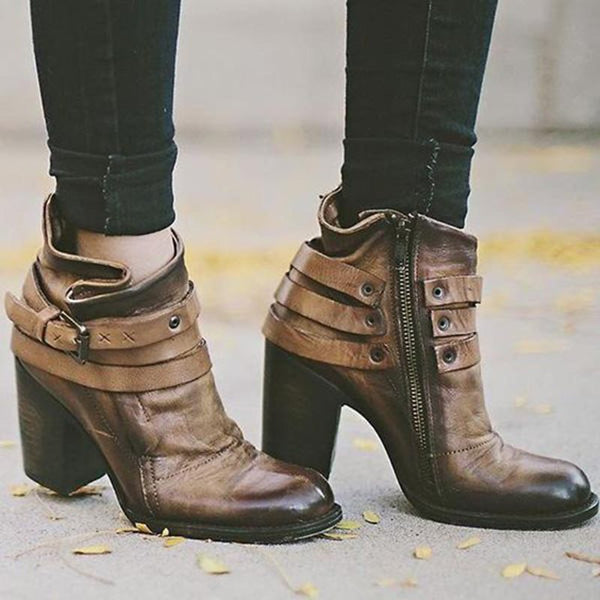 Side Zipper Chunky Heel Pointed Toe Color Block Casual Zipper Boots