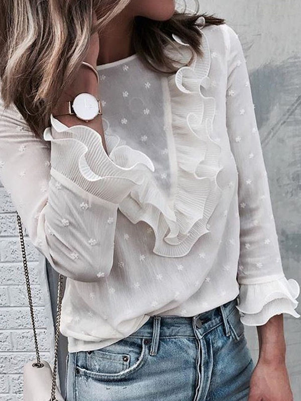 Round Neck Ruffle Sleeve Polka Dots Nine Points Sleeve Standard Blouse