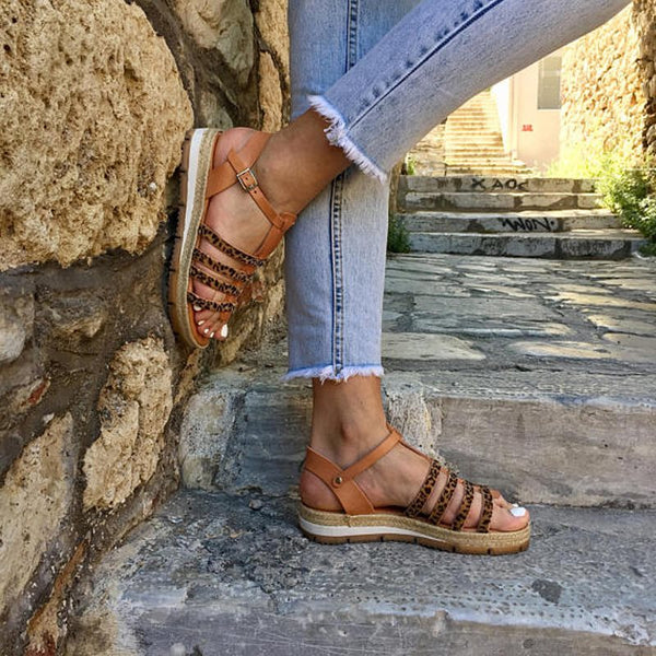 Buckle Open Toe Wedge Heel Western Casual Sandals