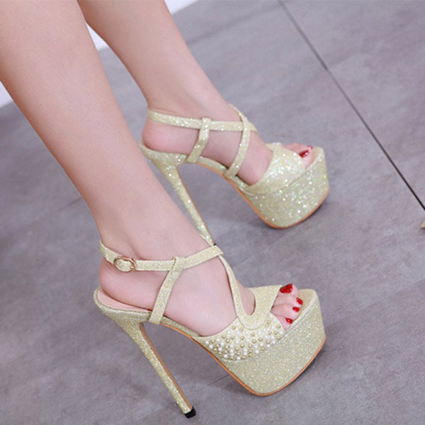 Toe Ring Buckle Stiletto Heel Plain Beads Sandals