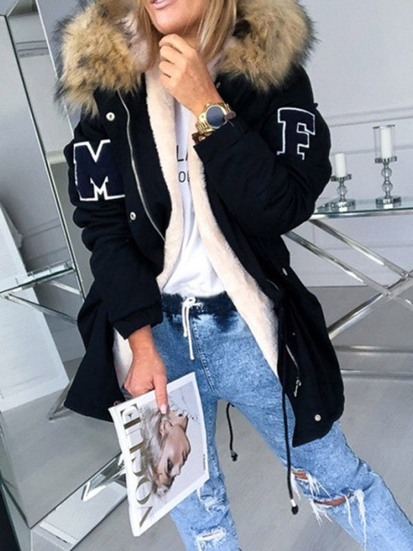Zipper Hooded Embroidery Loose Casual Trench Coat