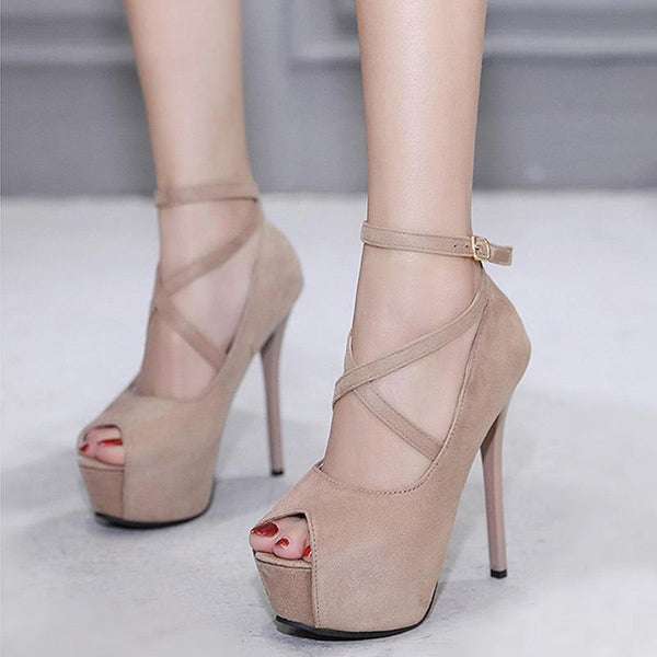 Line-Style Buckle Stiletto Heel Peep Toe Platform 14cm Banquet Thin Shoes