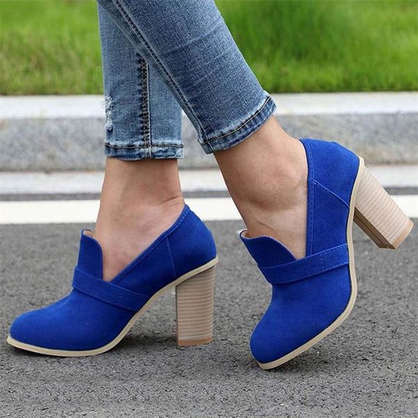 Chunky Heel Slip-On Thread Round Toe Casual High Heel Thin Shoes